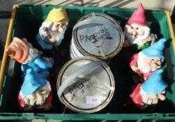 A BOX OF GARDEN GNOMES NO VAT