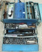 FOUR TOOL BOXES WITH CONTENTS SPANNERS ETC NO VAT