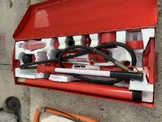 A CLARKE STRONG ARM 10 TON HYDRAULIC BODY REPAIR KIT IN A METAL STORAGE CASE - NO VAT