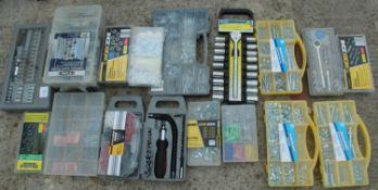 16 BOXES OF SOCKET SETS HOSE CLIPS ETC NO VAT