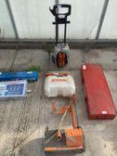 A STIHL PRESSURE WASHER AND A STIHL CONCRETE SAW TROLLEY - NO VAT