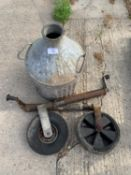 TWO JOCKEY WHEELS AND A GALVANISED TWIN HANDLED SMALL CHURN + VAT