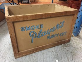 A PLAYERS NAVY CUT SHIPPING CRATE WITH ADDRESS LABEL DATED 3RD MAY 1961