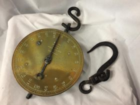 A SET OF SALTER'S TRADE SPRING BALANCE BRASS AND IRON HANGING SCALES NO. 85T