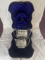 A HALLMARKED 1893 AND 1894 LONDON CREAM JUG AND SUGAR BOWL SET IN A PRESENTATION CASE (SET MISSING