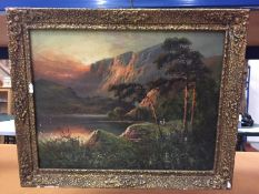 A FRANK HILDER (BRITISH 1861-1933) OIL ON CANVAS OF A MOUNTAINOUS SCENE SIGNED 35CM X 44CM (SOME