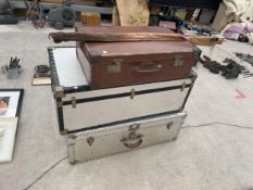 TWO TRAVELLING TRUNKS, SUITCASE - COURIER DE LUXE AND A FISHING ROD