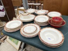 A GRINDLEY PART DINNER SERVICE TO INCLUDE PLATES, BOWLS AND TUREEN DISHES ETC