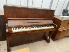 A WALNUT CASED OVERSTRUNG PIANO, BEARING TOWER LABEL
