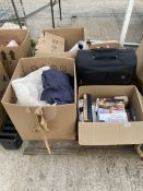 AN ASSORTMENT OF HOUSEHOLD CLEARANCE ITEMS TO INCLUDE BOOKS, CLEANING PRODUCTS AND CLOTHES ETC