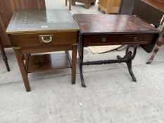AN ANTIQUE STYLE LAMP TABLE AND MINIATURE SOFA TABLE