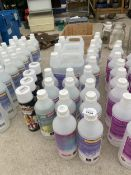A GROUP OF 11 BOTTLES OF SNOW FLUID, 6 BOTTLES OF BUBBLE FLUID, 4 CANS OF SMOKE SPRAY AND 3 5L DRUMS