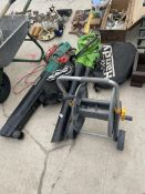 AN ASSORTMENT OF GARDEN ITEMS TO INCLUDE A QUALCAST LEAF BLOWER, A FURTHER LEAF BLOWER AND A HOSE