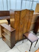 AN OAK BOOKCASE WITH SLIDING GLASS DOORS, A WALNUT WARDROBE AND AN INLAID MAHOGANY SIDE TABLE