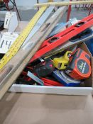 Measurement Tools including Tape Measures, Levels, Protractors, Rulers, Meter Sticks