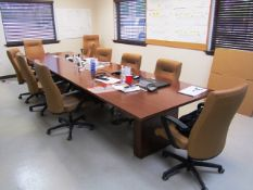 15' x 48'' Conference Table with (10) Leather Chairs