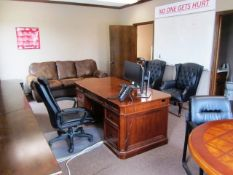 Contents of Office consisting of Desk with Leather Chair, Couch, (2) Leather Chairs, Round Table