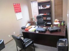 Contents of Office consisting of Left Hand Desk with (2) Chairs, (2) Lateral Filing Cabinets,