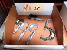 (4) Mitutoyo Blade Micrometers & (1) Mitutoyo Disc Micrometer