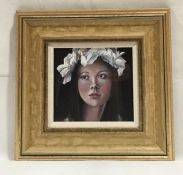 """Crowned"" an oil on paper of a young lady by Jo Dixon - Overall size 32cm x 33cm"