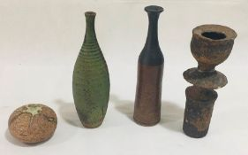 A collection of four studio pottery pieces including a small vase by George Tonkin H21cm, A