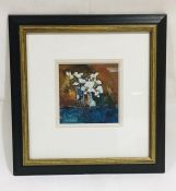 A mixed media painting of flowers by G. John Blockley - Overall size 37cm x 35cm