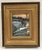 """Early Snow"" A small framed watercolour, bodycolour and ink by Michael Morgan, dated 1991 -"