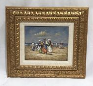 A framed unsigned impressionist oil on board of a beach scene. Overall size 40cm x 45cm