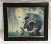 "A framed oil on board entitled ""Falling Mermaids"" by artist David Shanahan. Overall size - height"