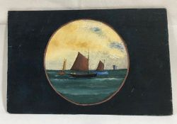 A naïve unsigned oil painting on board of sailing ships at sea - Overall size 20cm x 31cm