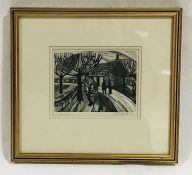 A black and white framed artist's proof signed J Cassford, dated1966 - Overall size 29cm x 31.5cm