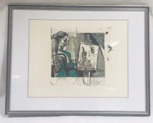 "A framed limited edition lithograph entitled ""Femme Dans L'Atelier"" by Pablo Picasso, numbered 343"