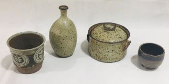 A Clive Parson studio pottery vase H21cm along with three other studio pottery pieces