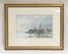 "A framed watercolour entitled ""Pinmill - Suffolk"" signed by artist Brian Giffin, dated May 1997."