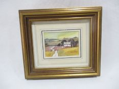 A framed miniature watercolour by artist Michael Morgan. Overall size 14cm x 15.5cm