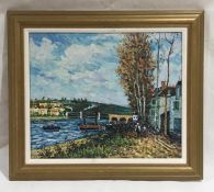 A framed unsigned impressionist oil on board of a Dutch river scene. Overall size 67cm x 78cm