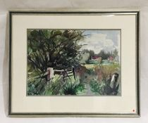 A framed watercolour by artist Donald De Groot. Overall size 53cm x 66cm