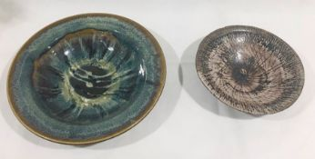 A Michael Morgan studio pottery bowl (chip to rim) W29cm along with a large glazed studio pottery