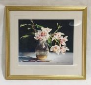 "A framed watercolour entitled ""Orchids"" by artist Kiff Holland. Overall size 49cm x 54cm"