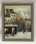 A framed oil on canvas of a French street scene, indistinctly signature. Overall size 57cm x 47cm