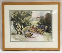 "A framed watercolour entitled ""Road over the moor"" by artist Donald De Groot. Overall size 47cm x"