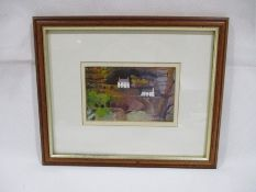 """Two Cottages"" a signed watercolour and ink by Michael Morgan - Overall size 24cm x 28.5cm"