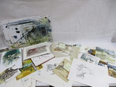 A collection of Michael Morgan's sketchbooks, preliminary drawings, blotting pads, book drafts etc