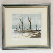 """Thames Barges - Woolwich Reach"" a framed watercolour by Brian Giffin, dated 1994 - Overall size"