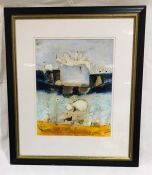 A framed abstract mixed media picture signed by the artist Leo McDowell - overall size 92cm x 78cm