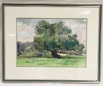 "A framed watercolour entitled ""Somerton Moor"" by artist Donald De Groot. Overall size 53cm x 65cm"