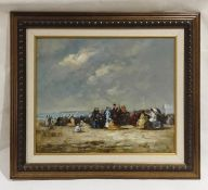 A framed unsigned impressionist oil on canvas of an Edwardian style beach scene. Overall size 72cm x