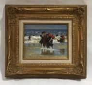 A framed unsigned impressionist oil on board of a Edwardian style beach scene. Overall size 39cm x