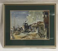 A framed watercolour of a boat yard scene by artist M.Rogers. Overall size 53cm x 63cm