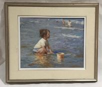"A framed oil on canvas entitled ""Seaside Day"" signed by artist Wilson Chu. Overall size 63cm x 73cm"